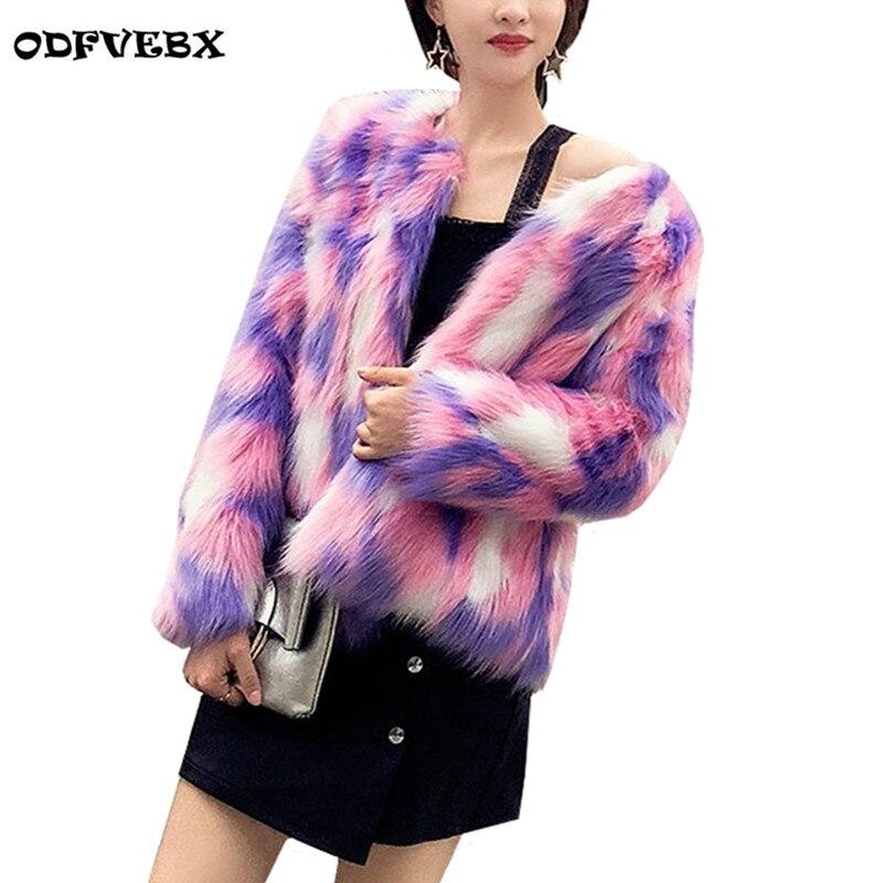 Nova Imitação Casaco De Pele Feminino 2019 das Mulheres do Outono Inverno Casacos Coreano Imitação de Pele de Raposa Jaqueta Curta Parkas Quente Impressão outwear