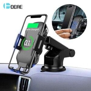 Image 1 - Qi bezprzewodowa ładowarka samochodowa góra auto mocowanie 10W szybkie ładowanie uchwyt telefonu dla iPhone 11 8 X XR XS Samsung S20 S10 S9 uwaga 10 9