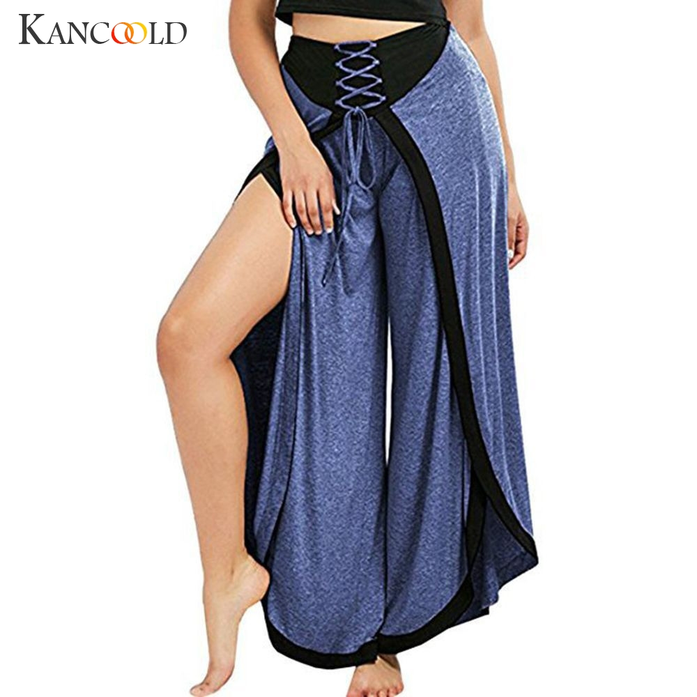 KANCOOLD   Pants   Women Sexy   Wide     Leg     Pants   Lace Up Loose High Waist Palazzo Flared Trousers Elastic casual   pants   woman 2018dec31
