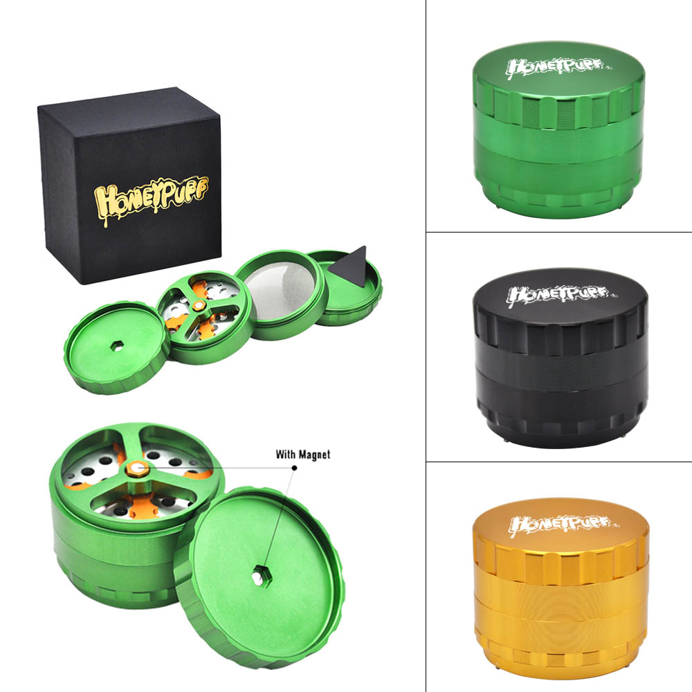 honeypuff luxury dry herb/tobacco grinder with cutting blades 68mm 4