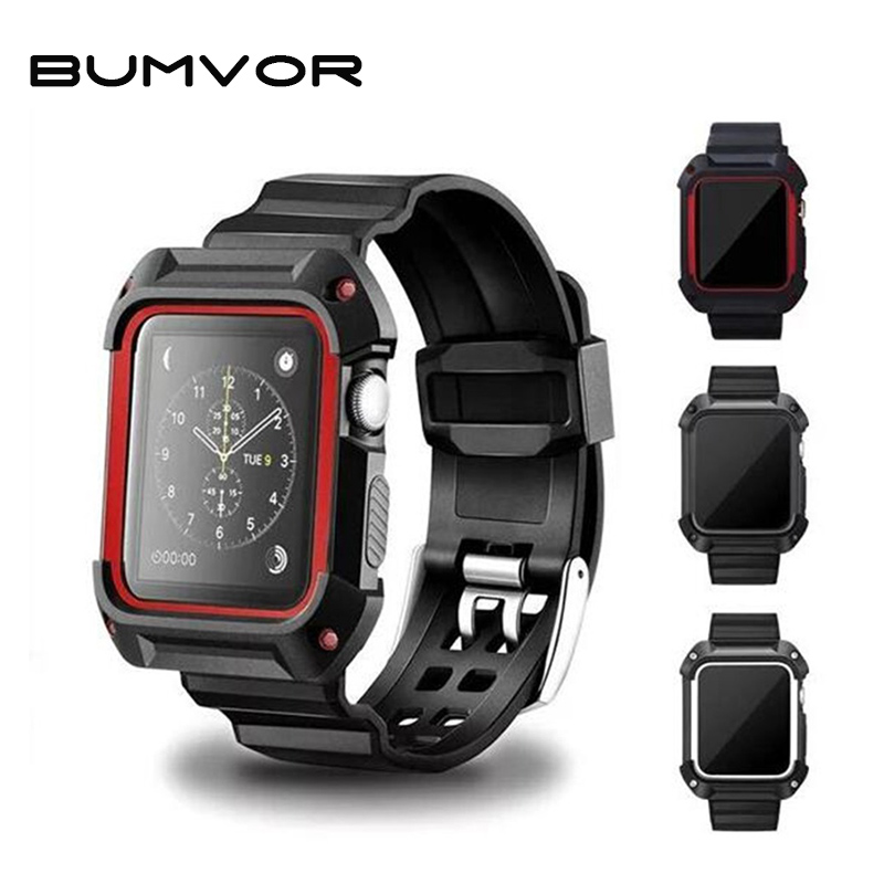 BUMVOR Hot Sale Sport Band For Apple Watch 40/44/42/38MM iwatch4/3/2/1 Wrist Band Bracelet Rubber Watchband With Protective Case цена и фото