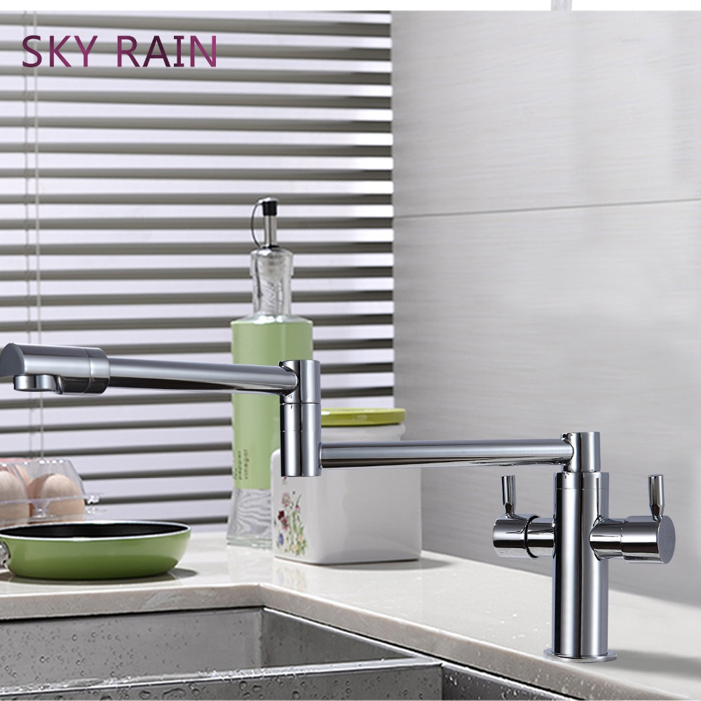 SKY RAIN Modern Design Hot And Cold Stainless Steel Folding Faucet Tap Dual Lever Waterfall Taps in Kitchen Faucets from Home Improvement