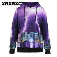 2018 New 1014 Lightning City New York 3D Printed Unisex Jacket Hooded Sweatshirt Casual Loose Women Men Pocket Hoodies Coat
