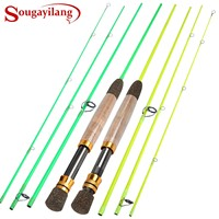 Sougayilang 2.25m Fly Spinning Exchange Fishing Rod 4 Section Portable Carbon Fishing Rods Pole for Freshwater Saltwater Fishing