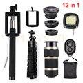 12in1 Kit Camera Lens 8x Zoom Telefoto Lentes Olho de Peixe Grande Angular Lente Macro para iphone 6 6 s além de 7 samsung s3 s4 s5 s6 s7 edge
