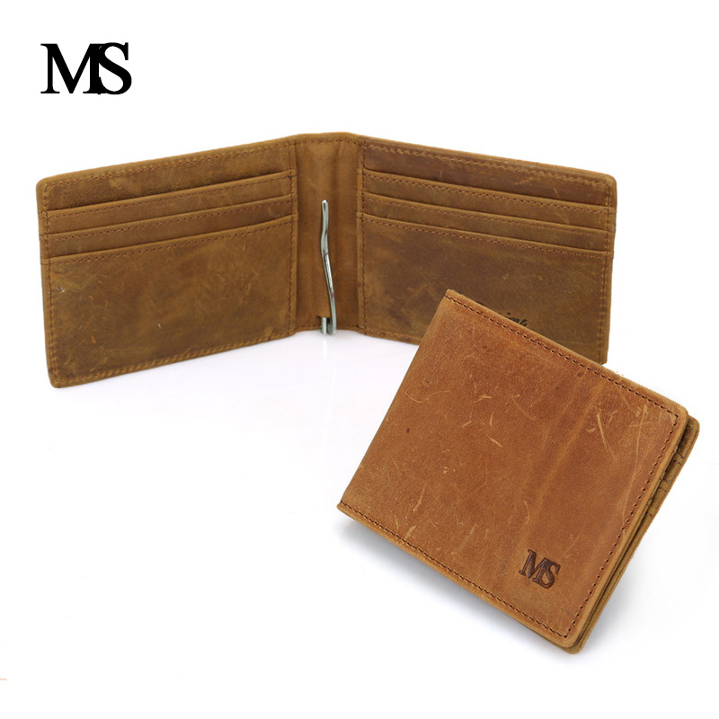 MS High Quality First Layer Läder Äkta Money Clips För Män Vintage Slim Design Kreditkort Clip Wallet Men TW1601