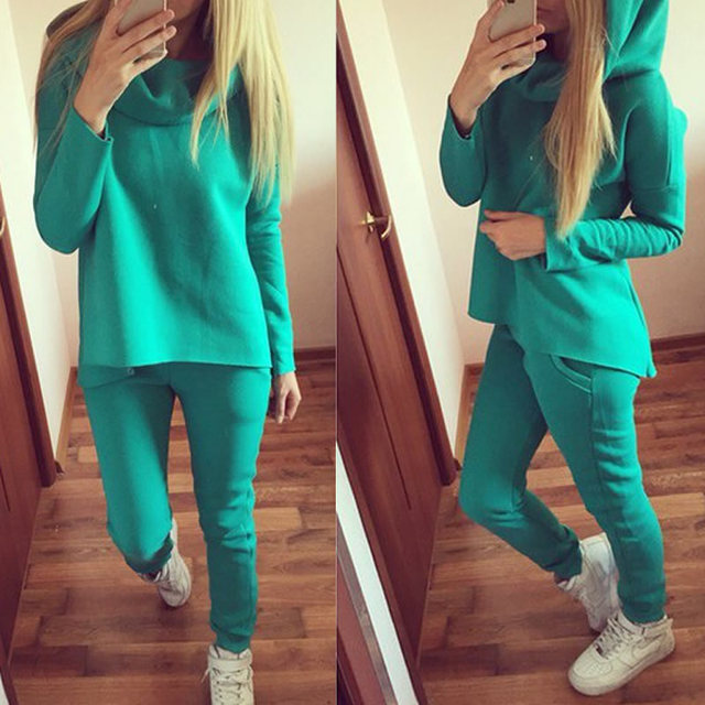 Spring Women's Suits 2017 New Fashion Hooded Long Sleeve Suit Set Women Casual Hoodie Sweatshirts+Pants 2 Piece Set
