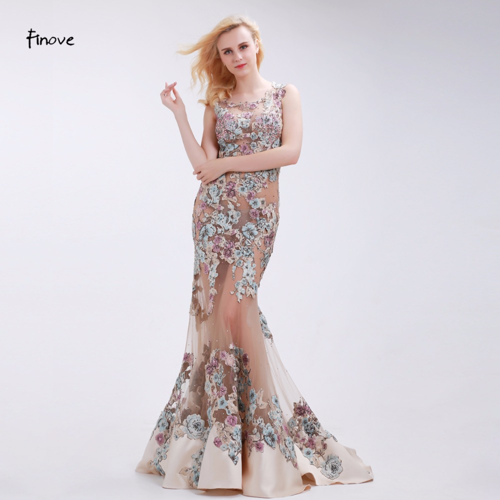 Finove Appliques Evening Dresses Sexy See Through Tulle Elegant Mermaid Floor Length 2019 New Champagne Sleeveless