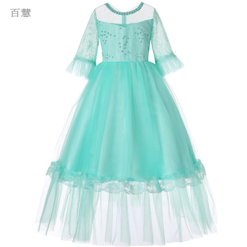 bow Beading Girl Dress Girls Half lace Princess Dress Kids lovely Solid Dresses Party Birthday Wedding Baby Girls clothes Summerbow Beading Girl Dress Girls Half lace Princess Dress Kids lovely Solid Dresses Party Birthday Wedding Baby Girls clothes Summer