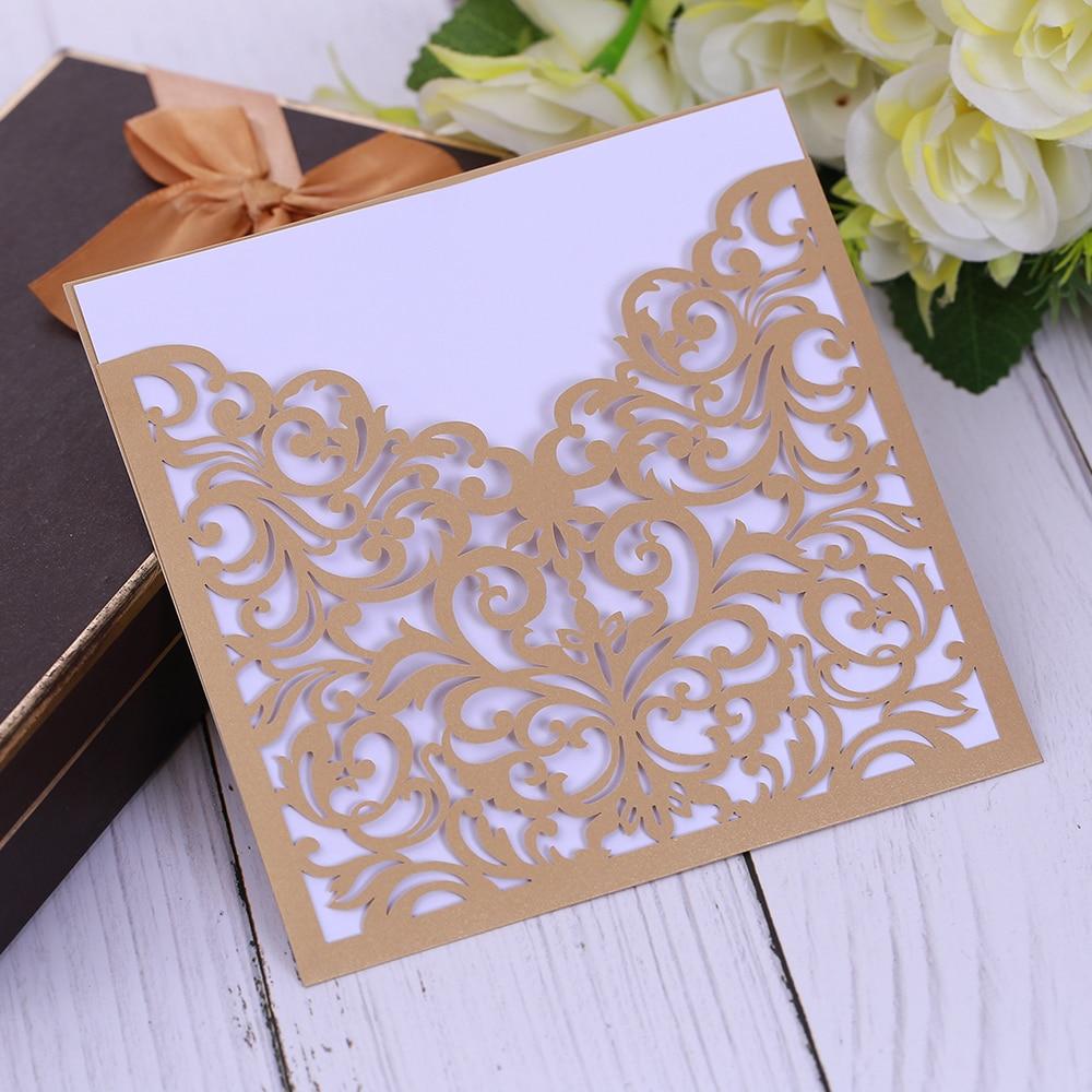 cf0a39d839 Arany fehér lézer vágott luxus flóra esküvői meghívók elegáns kártya ...