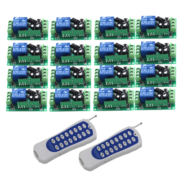 Good Quality 1CH Radio Remote Wireless Remote Control Switch 16pcs Receivers + 2pcs 16CH Transmitter Learning Code 2 receivers 60 buzzers wireless restaurant buzzer caller table call calling button waiter pager system