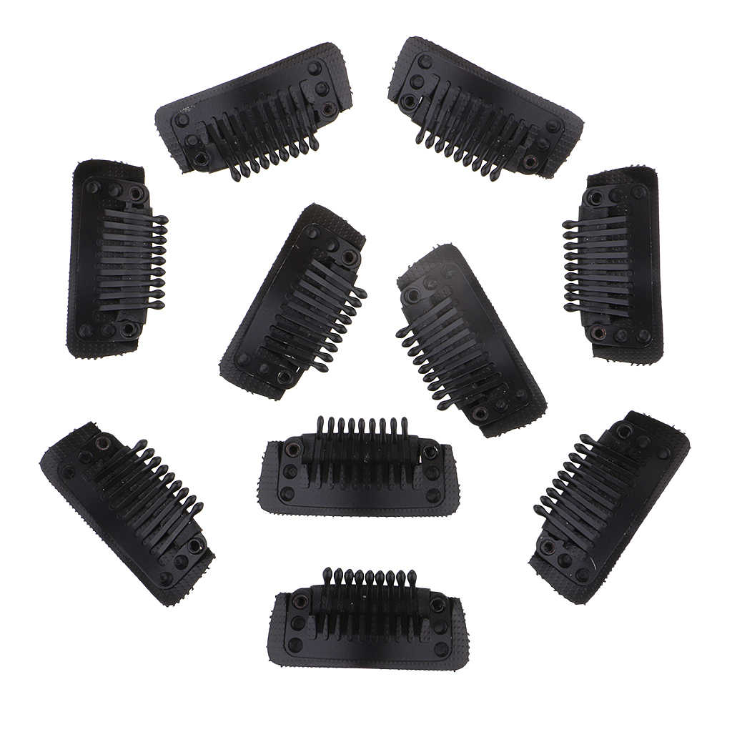 10 Packs 35mm 9-Teeth Snap-Combing Wig Clips Strong Grips for Hair Extension and Wefts with Rubber Back