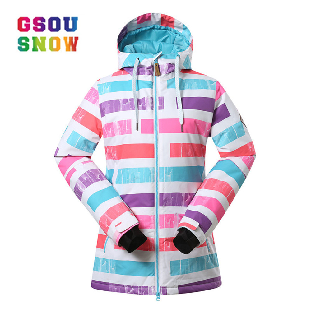 GSOU SNOW Women Ski Jacket  Breathable Girls Snow Jacket Waterproof High-Q Skiing And Snowboarding Warm Jacket Female Windproof