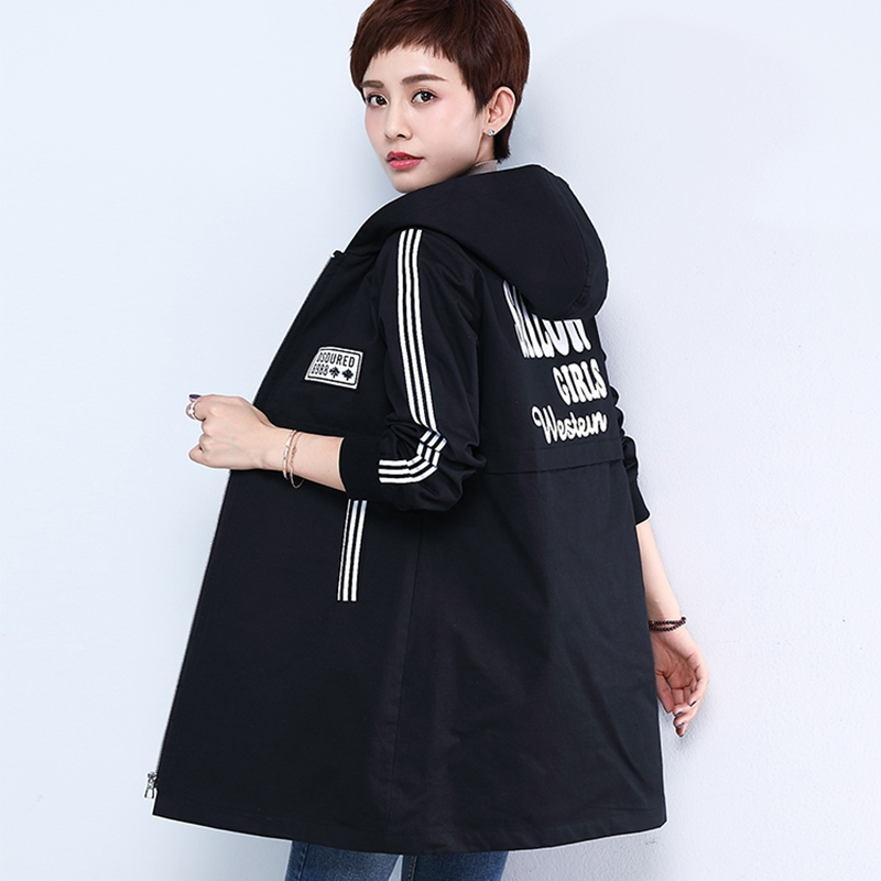 2018 Spring autumn black   trench   coats for women white inlaid strip ladies hooded windbreaker plus size 5xl long   trench   coat tops
