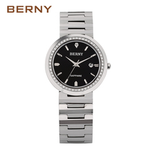 BERNY Brand 2017 New Arrival Silver Watch Ladies Casual Dress Girls Wristwatches Rhinestones Waterproof Women Hour Clock 2301L