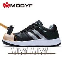 Modyf Men Steel Toe Cap Work Safety Shoes Unisex Breathable Outdoor Safety Footwear Biker Boot Foot