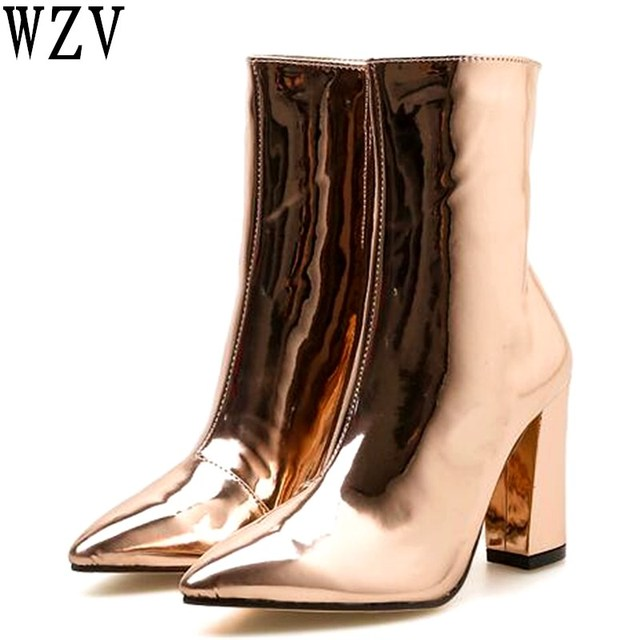 dd976c61285 2019 Fashion Gold Silver Patent Leather Women Ankle Boots Pointed Toe High  Heel Boots Sexy Stiletto Women Pumps Chelsea Boots