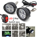 2pcs LED Motorcycle Headlight Mirror Mount Driving Fog Spot Light Assist Lamp Motorbike Scooter Side Mirror Lamp Light Switch