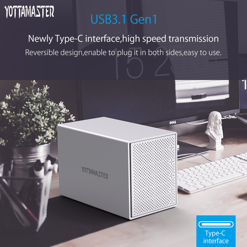 Yottamaster Aluminum HDD Case 5-Bay 3.5 inch 5Gbps Type-C to SATA HDD Docking Station Hard Drive Box Support 50TB for PC yottamaster high end hdd docking station dual bay 2 5 inch usb3 0 to sata3 0 external hdd case 8tb support raid 0 1 span