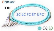 1 m 12 Fiber Codino LC SC FC UPC 50/125 Multimodale OM3 Mazzo 12 core In Fibra Ottica Della Treccia 0.9 mm Rivestimento di PVC