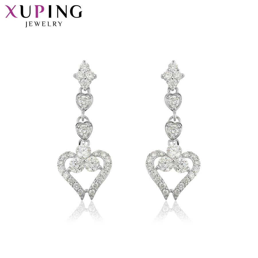 Xuping Delicate Charms Vintage Rhodium Plated Drop Earrings Heart Design Fashion Jewelry for Women Girls Nice Gifts S137.3-<font><b>23003</b></font> image