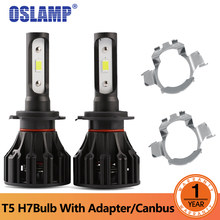 Oslamp T5 led headlight h7 with Adapter / Canbus COB LED Headlight 8000lm 72w 6500K Car Front Bulb Dipped High Beam Led Lamp(China)