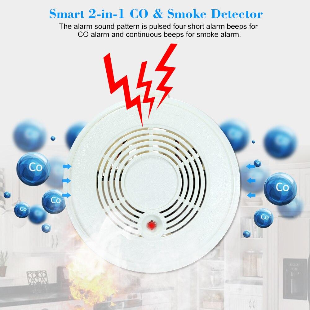Wifi Co Gas Sensor Smoke Detector Fire Alarm Photoelectric Led