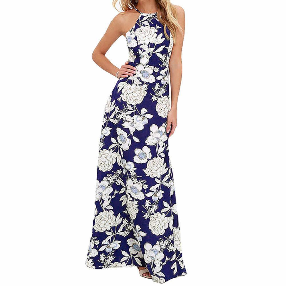 8e959d51d64 Women dress summer 2018 Hanging neck Boho Long Maxi Evening Party Dress  Beach Dresses Sundress May