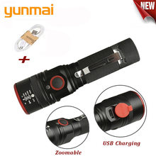NEW USB Rechargeable Flashlight T6 Led Flash light Zoomable 3 modes torch for 18650 with USB cable Camping fishing running(China)