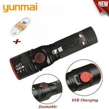NIEUWE USB Oplaadbare Zaklamp T6 Led flitslicht Zoomable 3 modes torch voor 18650 met USB kabel Camping vissen running