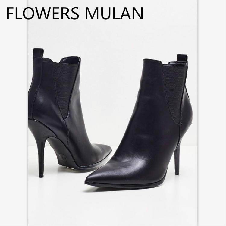 443454d125a34f Chaussures Noir Cheville Chic Pointu Femmes Noir Bottes Designers Mode Show  Cuir Serpent Zapatos Blanc En Bout Mujer Femme Hauts Pour as New blanc  Talons De ...