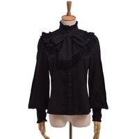 Kobiety Bluzki Elegancki Vintage Victorian Królewski Łuk Stanąć Kołnierz Z Długim Rękawem Ruffles Koronki Koszula Wierzchołki