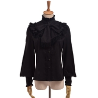 Vintage Noble Gothic Lolita Shirt Flouncing Bow Long Sleeve Stand Collar Lace Blouse