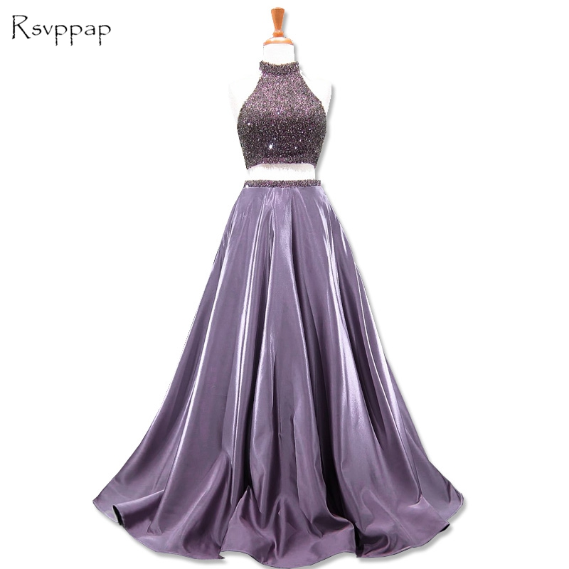 Stunning Long Prom Dresses 2019 Elegant High Neck Top Beaded African Backless Satin Two Piece Prom Dress