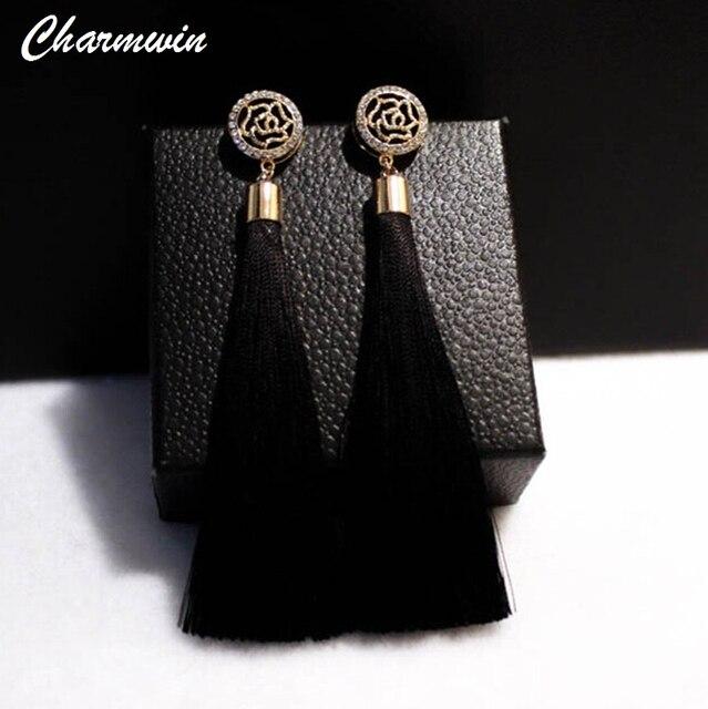Charmwin модный бренд камелии Серьги преувеличены Винтаж Украшенные стразами длинной кисточкой Длинные Висячие серьги для Для женщин