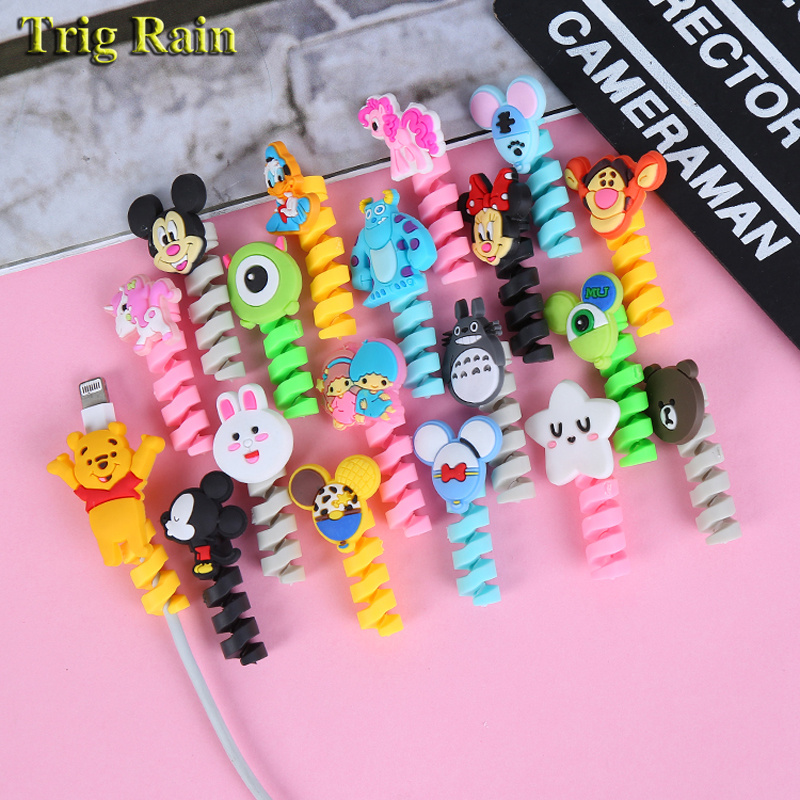 Cartoon Spiral Cable protector Data Line Silicone Bobbin winder Protective For iphone Samsung Android USB Charging earphone Case
