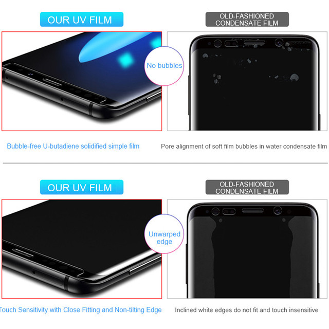 100D UV Liquid Curved Full Glue Tempered Glass For Samsung Galaxy S8 S9 S10 Plus Lite Note 8 9 10 Screen Protector Full Cover 4