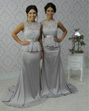 New Arrival Mermaid Dark Grey Long Chiffon Bridesmaid Dresses Appliques Lace Taffeta Cheap Prom Party Dresses Gowns C5