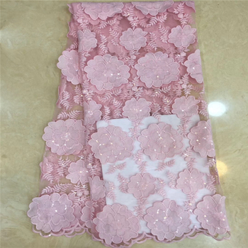 Tollola African French Lace Fabric With Stone Latest African Laces 2019 Pink Guipure Lace Fabric Nigerian Lace Fabrics For Dress