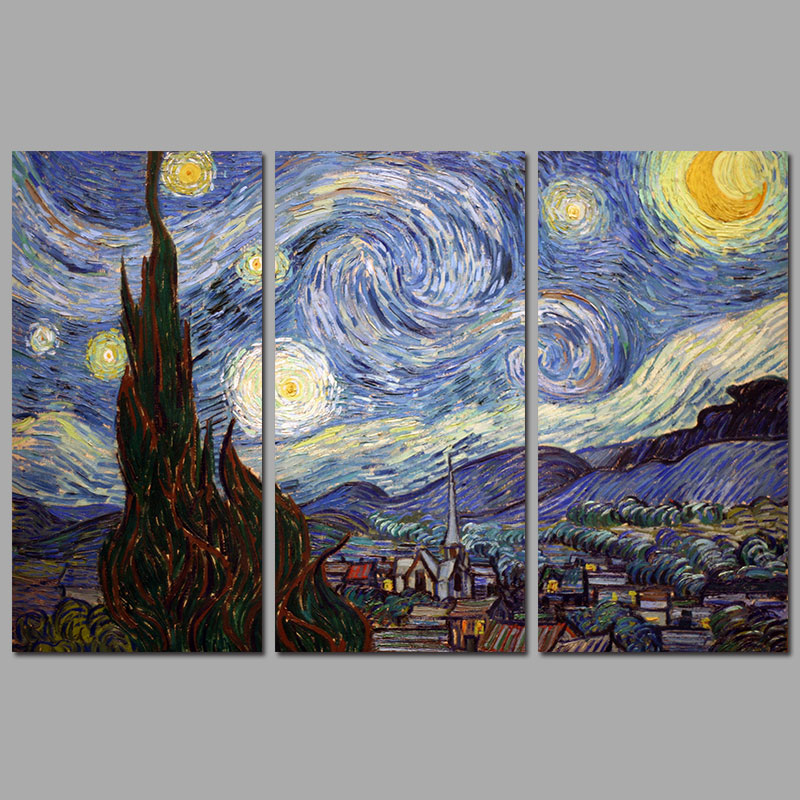 Impressionist art decoration 3pcs van gogh the starry for Mural van gogh