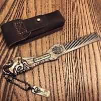 FH 20198 Metal Beard Comb Traditional Comb Vintage Folding Comb Pocket Keychain Comb 9.5cm Length