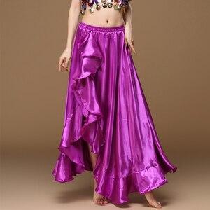Image 2 - Женская Длинная атласная юбка для танца живота, профессиональная сексуальная юбка для восточных танцев, 2020
