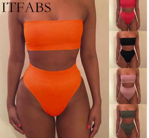 Itfabs 2018 новые бикини купальник без бретелек Для женщин, однотонная; доступно в 6 купальник с узором $ 4.27Per шт новый товар сексуальное платье с открытыми плечами, ванный комплект
