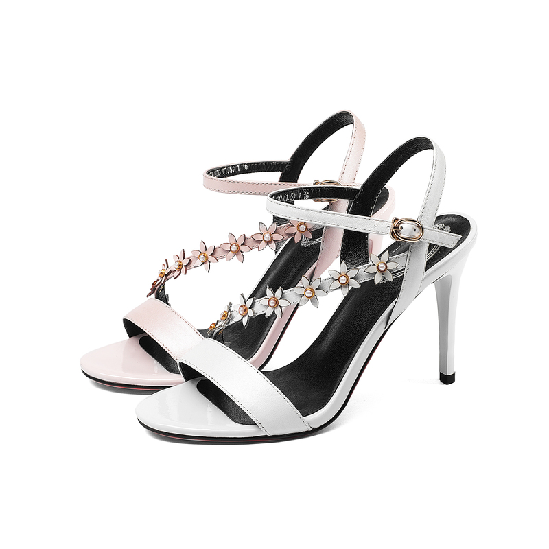 Nouveau En Mode D'été Hauts Sexy Talons Top blanc Véritable Dame Sandales 2018 Cuir Chaussures Rose De Femmes Salu Rivet Qualité SUpMVz