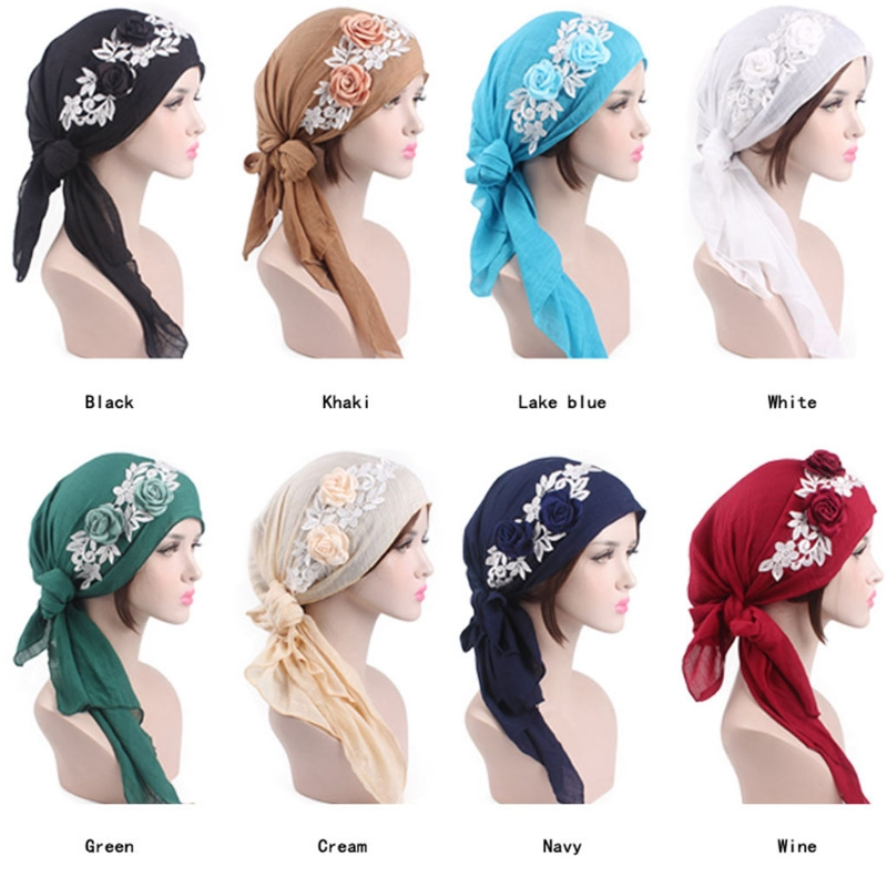 1PC Women Lady Rose Flower Long Tail Head   Scarf     Wrap   Turban Muslim Bandana Chemo Cap
