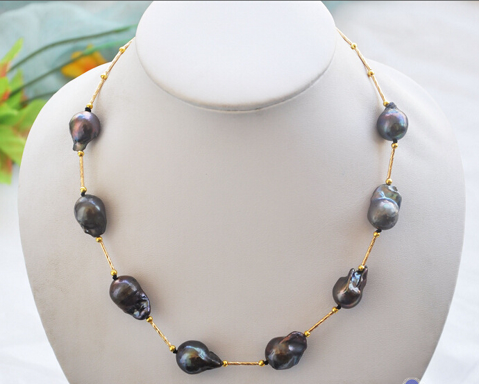 """Free shipping@@@@@ A> P4348 18"""" 20mm black BAROQUE KESHI REBORN PEARL NECKLACE a"""