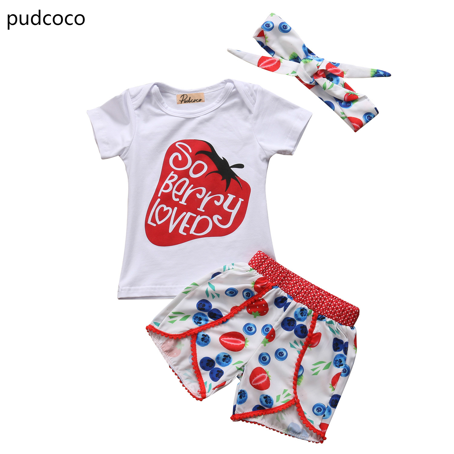 Cute Strawberry Clothes Toddler Kids Baby Girls Outfits Tops T shirt+Print Shorts Bottom Headband Clothes Set Summer Clothing cute newborn baby girl bodysuit headband outfits floral sunsuit clothes flower infnat toddler girls summer 3pcs set playsuit