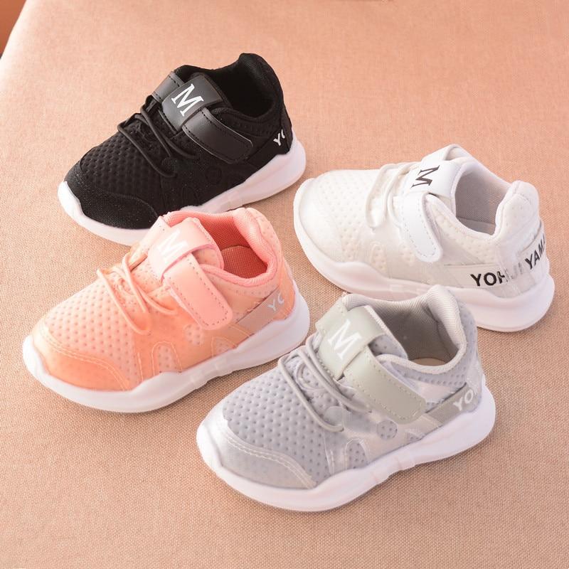 2019 outono nova moda net respirável rosa lazer sports running shoes para meninas sapatos brancos para meninos marca sapatas dos miúdos