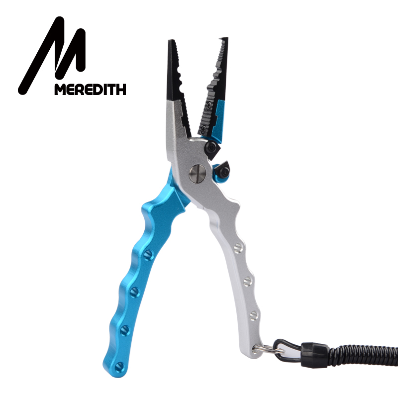 MEREDITH Fishing Pliers Aluminum Alloy Split Ring Cutter Fishing Holder Tackle With Sheath&Retractable Tether Combo Hook Remover