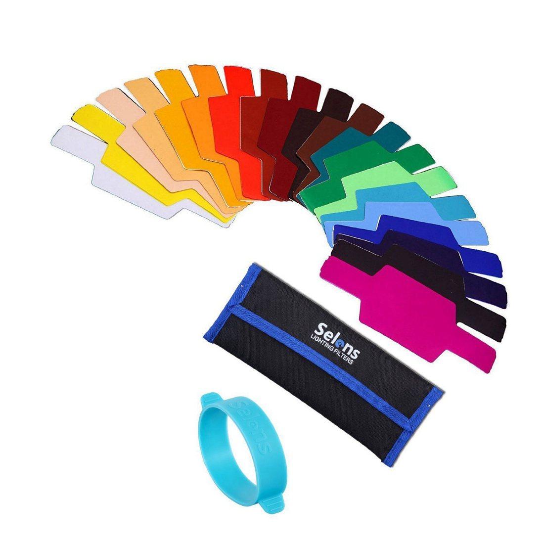 Selens Universal Flash Gels Lighting Filter SE-CG20 - 20 pcs Combination Kits for Camera Flash light ...